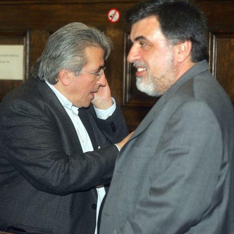 Ο πρόεδρος της ΑΔΕΔΥ Σπύρος Παπασπύρος και ο πρόεδρος της ΓΣΕΕ Γιάννης Παναγόπουλος πριν τη συνάντησή τους με τον πρόεδρο του ΠΑΣΟΚ Γιώργο Παπανδρέου..jpg