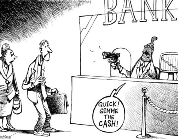 banksters_robbing_sheeple,capital.gr,100.000,BAIL IN,BAIL OUT,κούρεμα καταθέσεων,KOYREMA KATAUESECN,ΚΟΥΡΕΜΑ.ΚΑΤΑΘΕΣΕΩΝ,ΤΡΑΠΕΖΑ,ΤΡΑΠΕΖΙΤΗΣ,,Με απόφαση του υπουργού Οικονομικών Γ. Στουρνάρα, ενεργοποιείται η ηλεκτρονική κατάσχεση καταθέσεων για χρέη προς το δημόσιο. Σύμφωνα με αυτή τη διαδικασία, οι τράπεζες πρέπει εντός 10 ημερών από όταν λάβουν το αίτημα των φορολογικών αρχών, να ελέγξουν τους λογαριασμούς του ελεγχόμενου και να προχωρήσουν σε κατάσχεση με βάση τα ποσά των χρεών του. Παράλληλα, την ερχόμενη Πέμπτη τίθεται σε εφαρμογή το Σύστημα Μητρώου Τήρησης Τραπεζικών Λογαριασμών και Τραπεζικών Πληρωμών, με το οποίο ο φοροελεγκτικός μηχανισμός θα μπορεί να έχει άμεση εικόνα με τους λογαριασμούς των ελεγχόμενων στις τράπεζες. Με αυτό το Σύστημα, το οποίο στην ουσία είναι ένα κλειστό κύκλωμα ηλεκτρονικής αλληλογραφίας ανάμεσα στις φορολογικές αρχές και τις τράπεζες, οι Δ.Ο.Υ, το ΣΔΟΕ και την Αρχή για το ξέπλυμα χρήματος θα έχουν πλήρη εικόνα για τους λογαριασμούς καταθέσεων και τα δάνεια του ελεγχόμενου σε διάστημα 24ων ωρών από την αποστολή σχετικού αιτήματος στις τράπεζες.