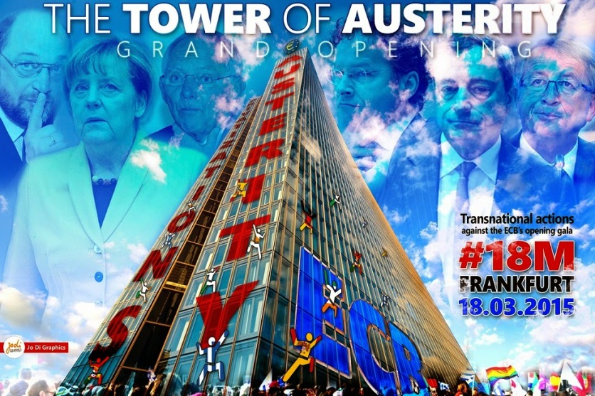 ECB-18M-2 THE TOWER OF AUSTERITY #18M #BLOCKUPY #FRANKFURT