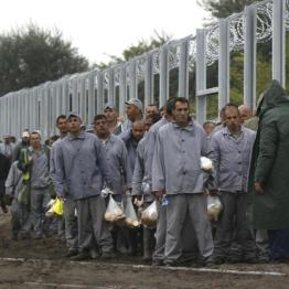 A gang of prison inmates walk along the Hungarian-Serbian border near a migrant collection point in Roszke, Hungary September 11, 2015. REUTERS/David Balogh