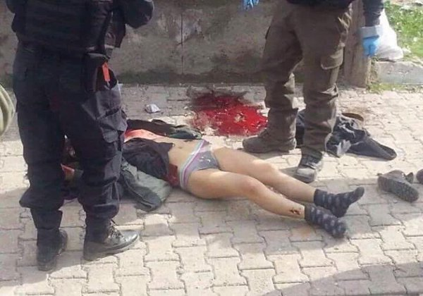 Turkish army strip of clothes of a Kurdish girl in #Cizre after killing her. This barbaric government have no limits