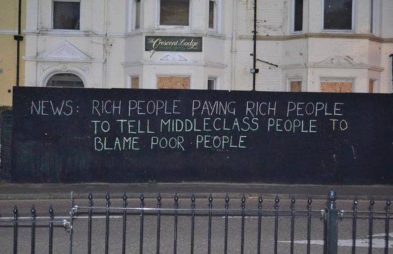 News = rich people paying rich people to tell the middle class people to blame poor people Capitalism Capitalisme Kapitalismus Καπιταλισμός Occupy Wall street