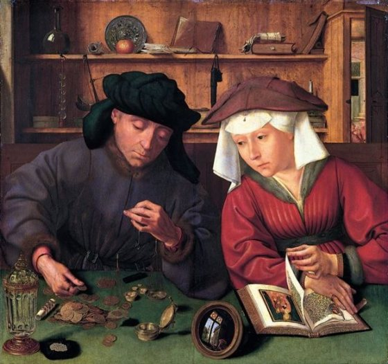 «Ο αργυραμοιβός και η σύζυγός του». Πίνακας του ολλανδού ζωγράφου Κουέντιν Μάτσις από το 1514