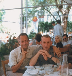 Albert Camus and his publisher, Michel Gallimard, Greece, 1958