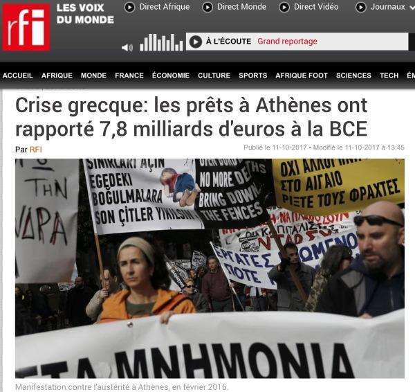 Το μνημόνιο Παπανδρέου και Σαμαρά Βενιζέλου, αποδεικνύεται η μεγαλύτερη αρπαχτή μετά την εποχή του χρηματιστηρίου. Οχτώ δις σχεδόν έχει κερδίσει η ευρωπαΐκή κεντρική τράπεζα από την δήθεν διάσωση της Ελλάδας. Γύρω στα 10 δις έχει κερδίσει το Διεθνές Νομισματικό Ταμείο. Μαντέψτε ποιος έχασε.