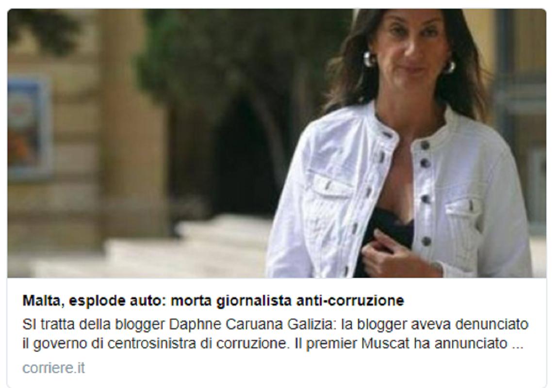Δολοφονήθηκε η ηρωίδα blogger #DaphneCaruanaGalizia που αποκάλυψε τα #MaltaFiles και #PanamaPapers