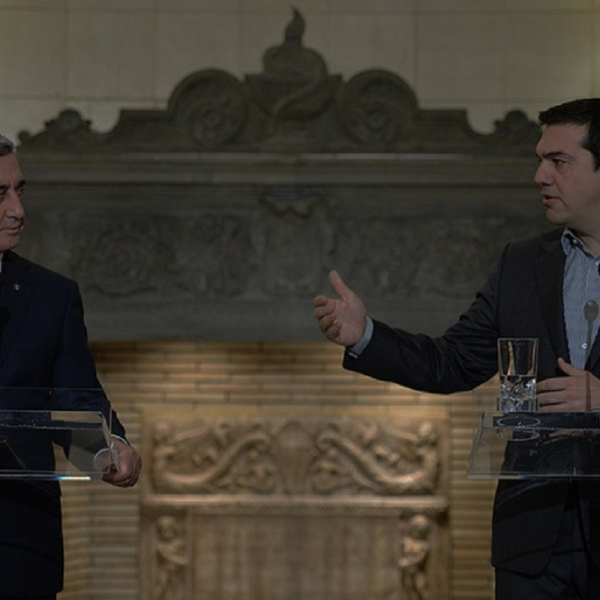 """ATHENS (RFE/RL) — Greek Prime Minister Alexis Tsipras praised his country's """"strong historical, cultural and spiritual bonds"""" with Armenia and called for their further strengthening after talks in Athens with the visiting President Serzh Sarkisian on Tuesday."""