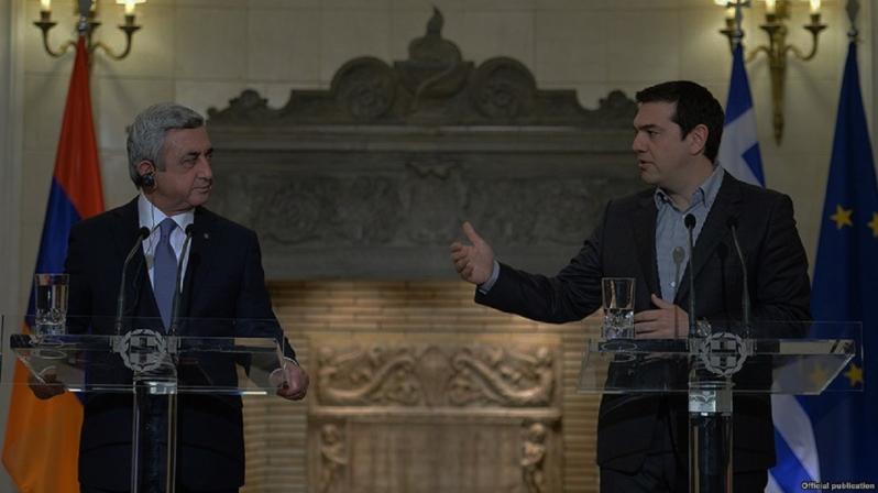 Greek Prime Minister Alexis Tsipras President Serzh Sarkisian on Tuesday.
