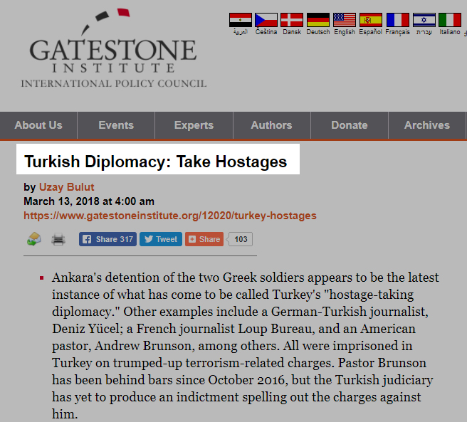 Turkish Diplomacy Take Hostages