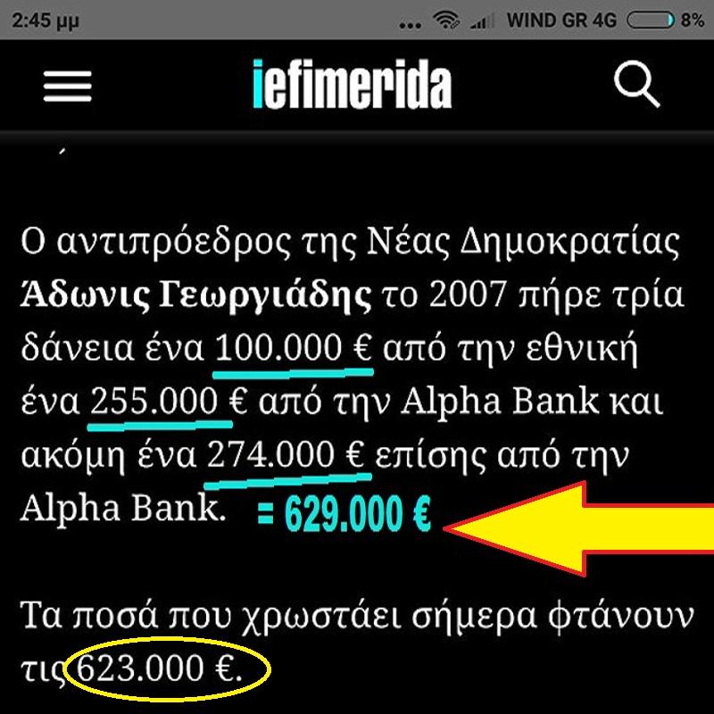 ΑΠΟΚΑΛΥΨΗ! Ο Αδωνις Γεωργιάδης για δάνειο €629.000 μετά από 10 χρόνια έχει πληρώσει μόλις €6.000! Οι Τράπεζες γιατί δεν τα απαιτούν Ο-Ε-Ο;