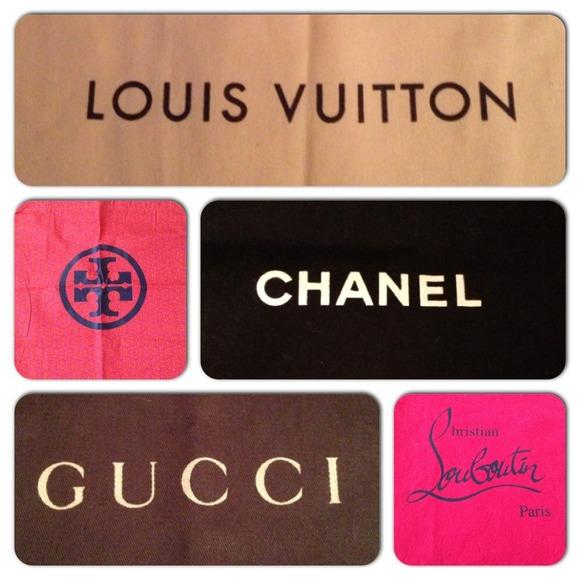 Dustbags Chanel, LV, Louboutin, Prada, Gucci, D&G
