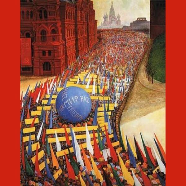 """Ο ζωγραφικός πίνακας που πλαισιώνει τη σελίδα (""""Διαδήλωση της Πρωτομαγιάς στη Μόσχα"""", 1956) είναι έργο του μεξικανού Ντιέγκο Ριβέρα."""
