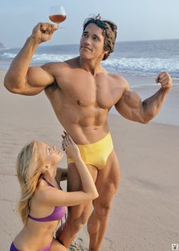 Arnold Schwarzenegger wine on the beach