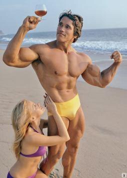 Arnold Schwarzenegger wine on the beach