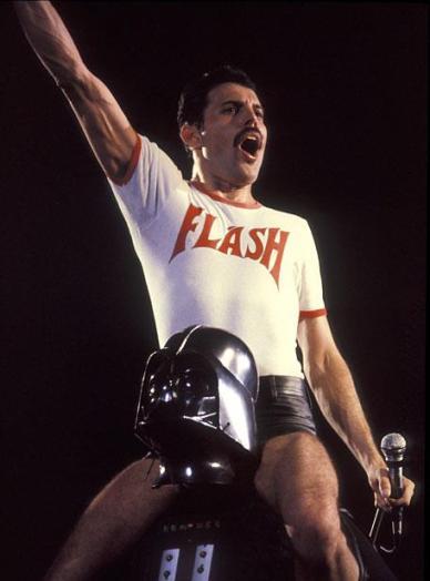 Freddie Mercury Sitting on Darth Vader's Shoulders, 1980