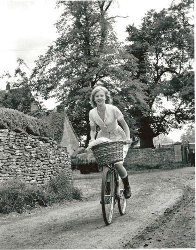 Hayley Mills rides a bike, 1965