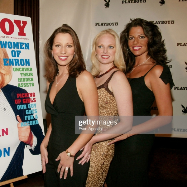 Playboy's Women of Enron press conference and photo opportunity at Delmonico's in New York City.L-R: Cynthia Coghlan, Christine Nielsen and Carey Lorenzo. June 27, 2002. Photo: Evan Agostini/Getty Images