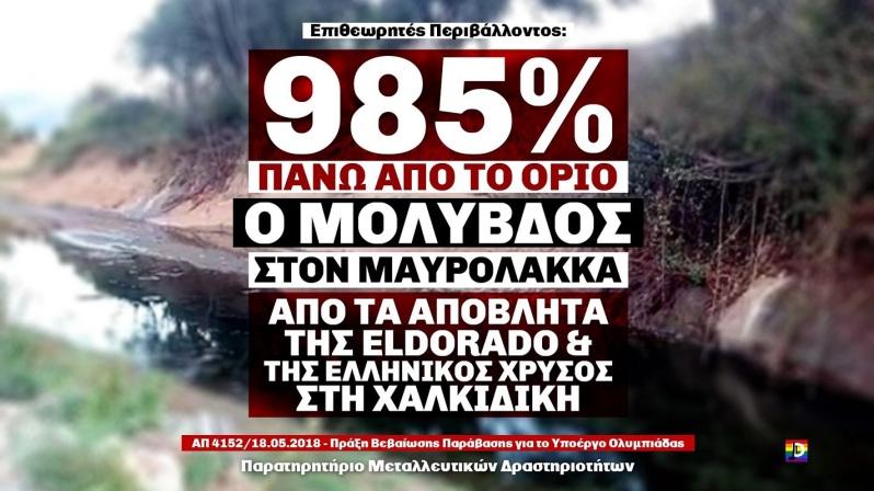 ΕΠΕΝΔΥΣΕΙΣ ΒΑΜΠΙΡ - 985% εκτός όριου ο μόλυβδος από απόβλητα της #Eldorado και της Hellas Gold στη Χαλκιδική #skouries @antigoldgreece @jodigraphics15