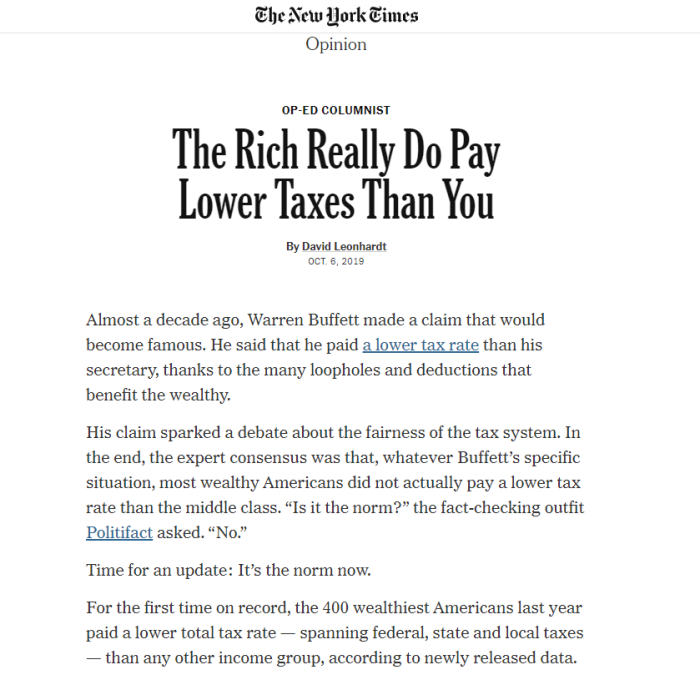 The Rich Really Do Pay Lower Taxes Than You By David Leonhardt