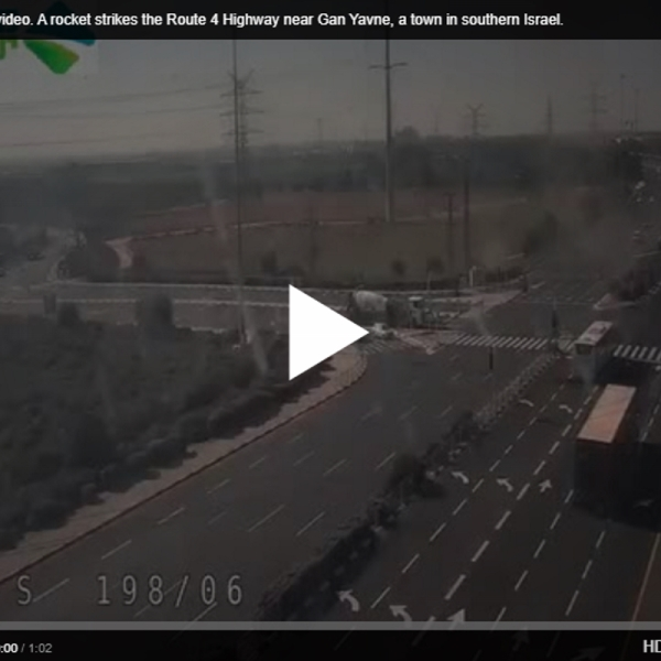 Horrifying video. A rocket strikes the Route 4 Highway near Gan Yavne, a town in southern Israel. [VIDEO]