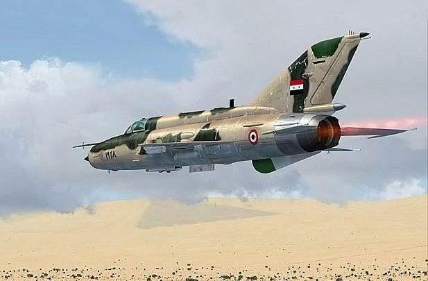 SYRIAN MIG-21 LOW FLIGHT rear view FOX 3