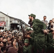 Castro delivers a speech during the March to Havana, Cuba. Jan. 24, 1959.