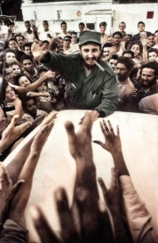 Fidel Castro is cheered on by an adoring crowd. Havana, Cuba. 1959