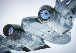 Eyes of Su-57 PAK-FA plane rear view afterburner full thrust