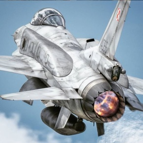Polish Air Force F-16C from 31AFB Krzesiny plane rear view afterburner full thrust
