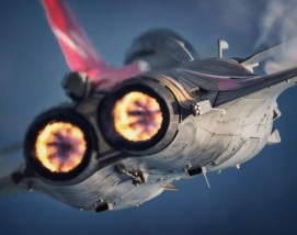 Dasault Rafale plane rear view afterburner full thrust