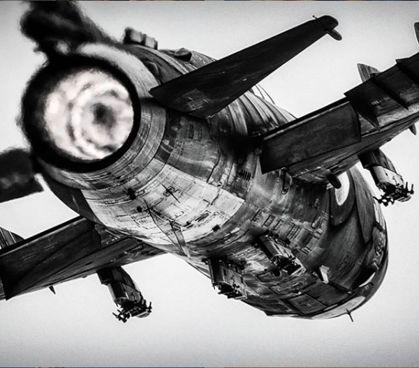 Sukhoi Su-22 Fitter plane rear view afterburner full thrust