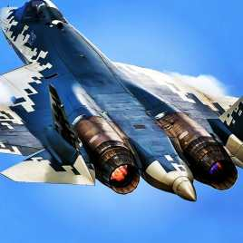 Sukhoi Su-57 PAK FA plane rear view afterburner full thrust