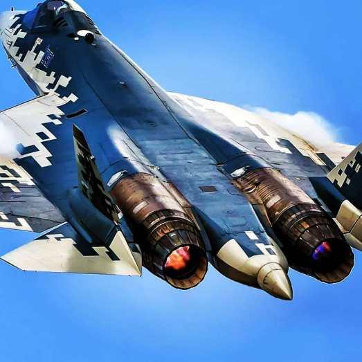Sukhoi Su-57 PAK FA plane rear view afterburner full thrust