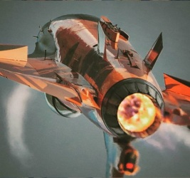 The Orange Lion RNLAF F-16 demoteam plane rear view afterburner full thrust
