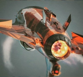The Orange Lion RNLAF F-16 demoteam plane rear view afterburner full thrust