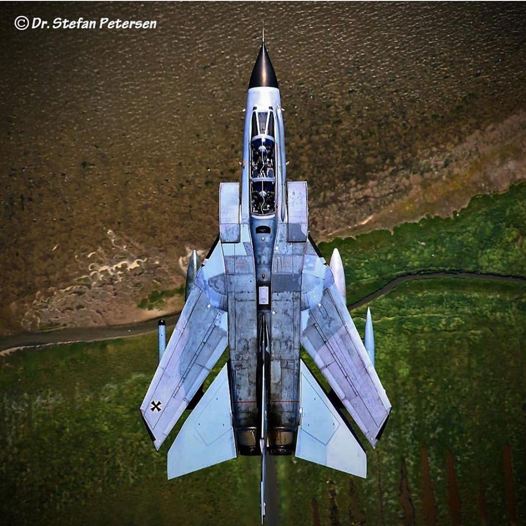 Panavia Tornado IDS plane rear view afterburner full thrust