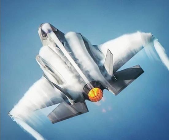 F-35 Lightning II plane rear view afterburner full thrust