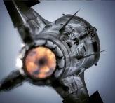 F-16 plane rear view afterburner full thrust