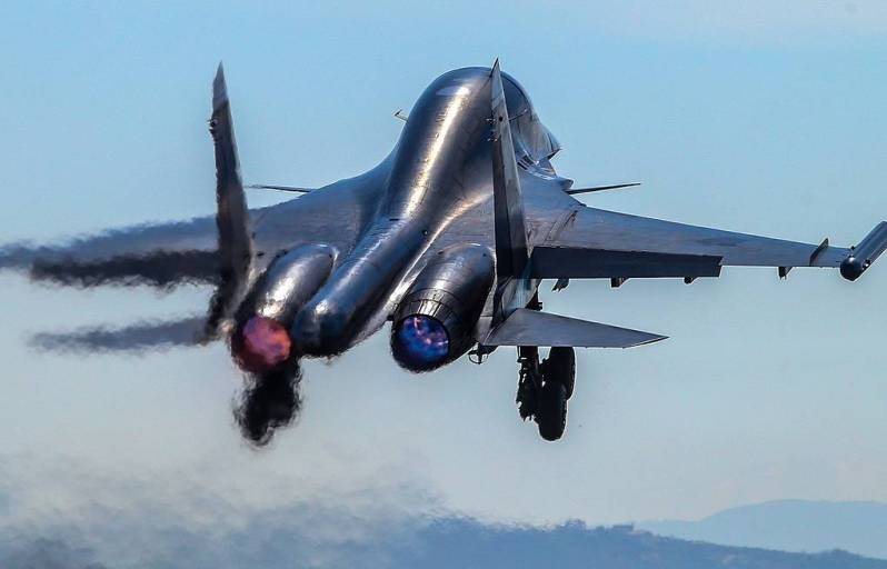 Sukhoi Su-34 is a Soviet-origin Russian twin-engine, twin-seat, all-weather supersonic medium-range fighter-bomberstrike aircraft. It first flew in 1990
