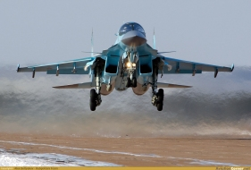 Sukhoi Su-34 is a Soviet-origin Russian twin-engine, twin-seat, all-weather supersonic medium-range fighter-bomberstrike aircraft. It first flew in 1990 (2)