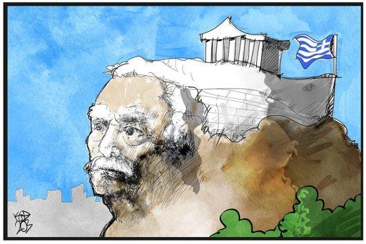 Σκίτσο από τον Κώστα Κουφογιώργο: Μανώλης Γλέζος