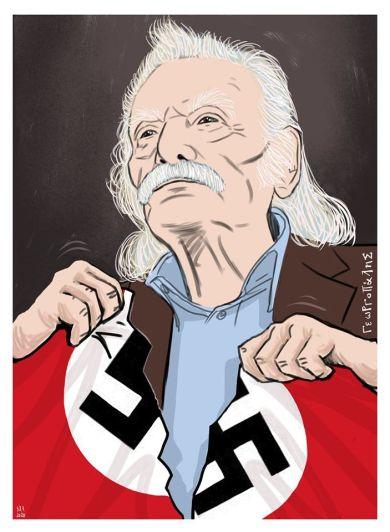 """Ο Δημήτρης Γεωργοπάλης αποχαιρετά τον Γλέζο με ένα σκίτσο όπου σκίζει τη ναζιστική σημαία και με μια φράση του, πυξίδα για το μέλλον: """"Αν πεθάνω θα σας κυνηγάει η ύπαρξή μου για να κάνετε αυτά που πρέπει να κάνετε""""."""