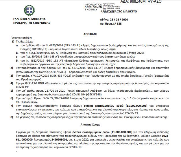 11 εκατομμύρια για την επικοινωνιακή διαχείριση του κορωνοϊού. No further comment needed.   #Μετά_θα_λογαριαστούμε