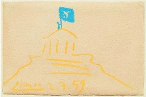 Pablo Picasso, 1881-1973 LE PARTHENON signed and dated 2.7.59. coloured crayons on paper 12.5 by 19.5cm.; 4P by 7Nin. Executed on 2nd August 1959. This drawing highlights the plight of Manolis Glezos. Condemned to death in 1941 for raising the Greek resistance flag over the Acropolis during the Nazi occupation, he fought for Greek resistance movement until the liberation in 1945. After the war, Glezos, was again condemned to death no less than three times, in 1947, 1948 and 1952 for being a communist. He was sentenced to five years in prison in 1959, being released in 1962 only to be re-arrested in 1967 by the new military junta. He finally achieved liberty in 1971. Σκίτσο του Πάμπλο Πικάσο για τον Μανώλη Γλέζο.