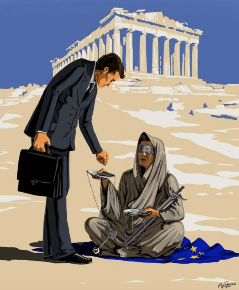 Gunduz Agayev - Femidead Ο σκιτσογράφος από το Αζερμπαϊτζάν Gunduz Agayev με τα σατιρικά του σχέδια της σειράς Femidead σχολιάζει τον θάνατο της δικαιοσύνης στο κόσμο.  Αυτό το σκίτσο αφορά την ... δικαιοσύνη της χώρας μας