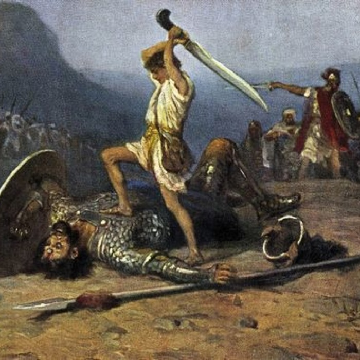 David and Goliath - painting of David killing Goliath from the Bible, Samuel I, Chapter 17, Verse 51. Painting by R Leinweber. Slaying giant with sword