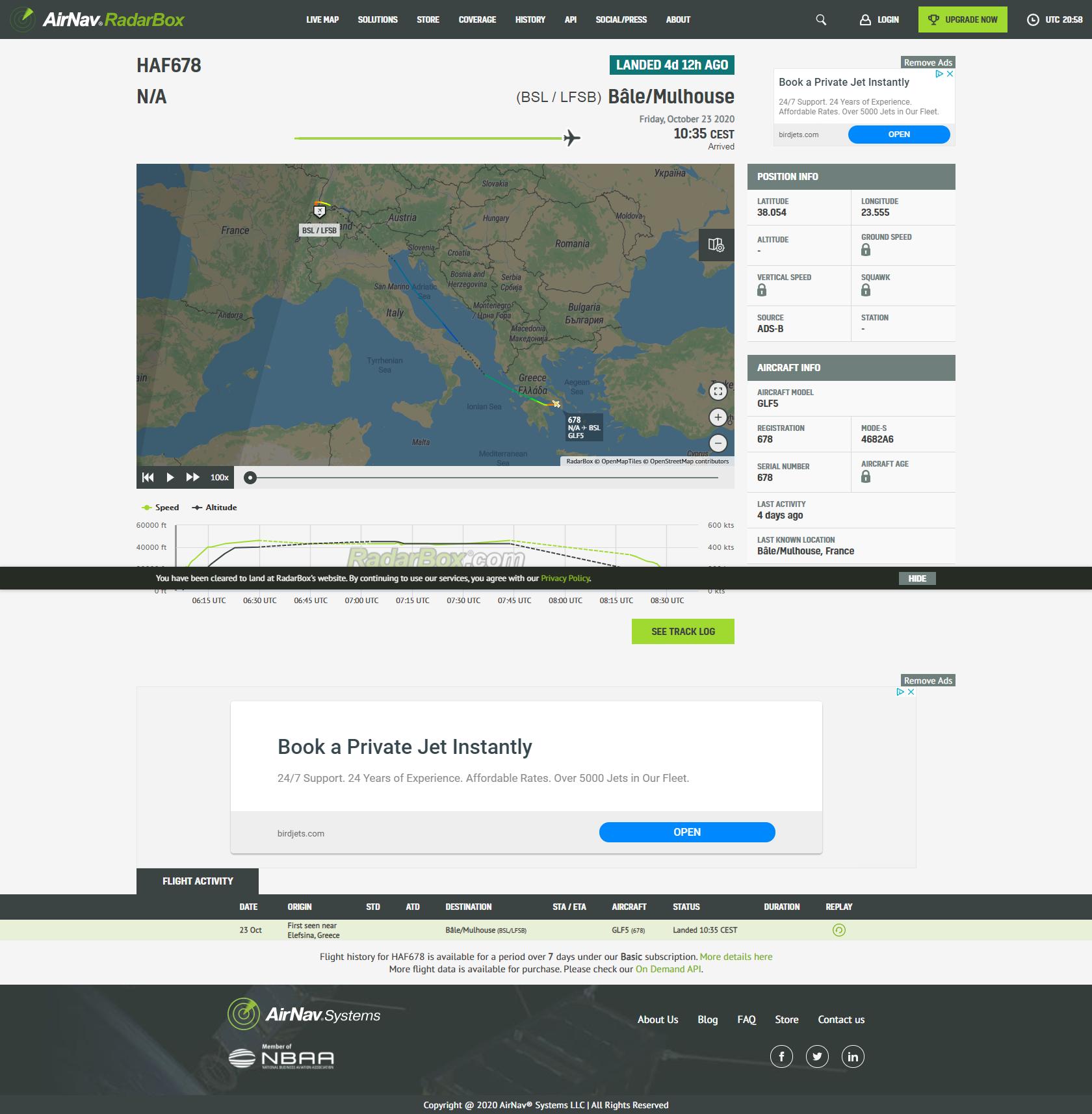 screencapture radarbox data flights haf678 2020 10 27 22 58 42