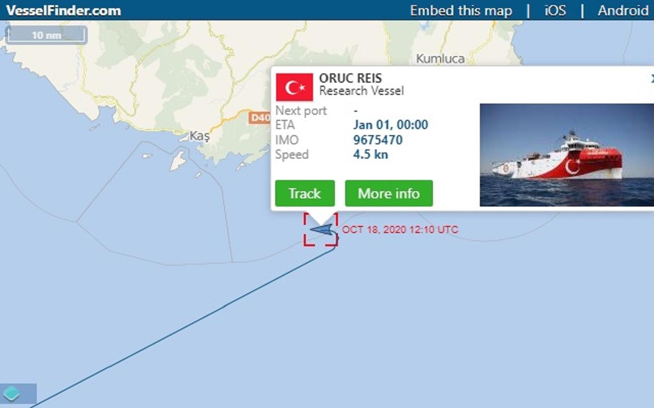 Δείτε live την πορεία του Oruc Reis – Έως τις 20:00 το απόγευμα θα πλησιάζει τα 6 ναυτικά μίλια [ΧΑΡΤΗΣ]