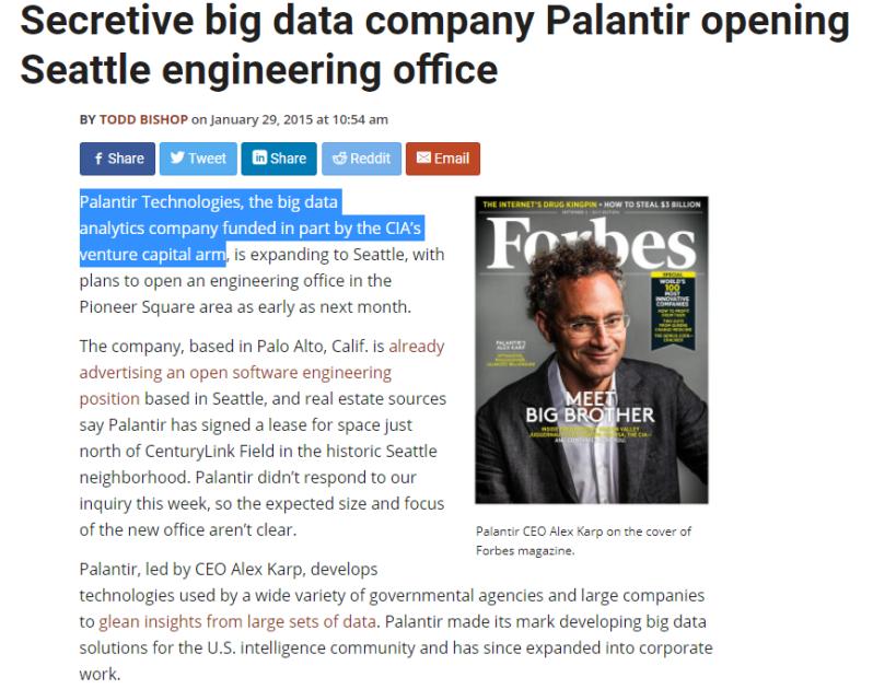 Secretive big data company Palantir opening Seattle engineering office