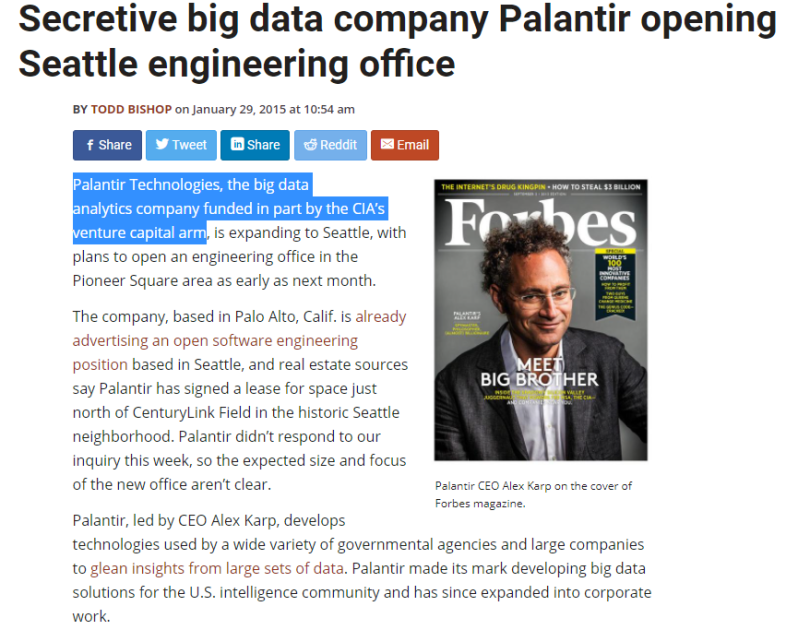 Secretive big data company Palantir opening Seattle engineering office